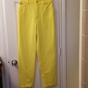 Bright Yellow Vintage Escada Jeans, unworn 28